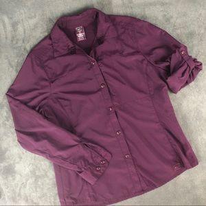 REI Hiking Shirt Button Up Side & Back Vents Sz M